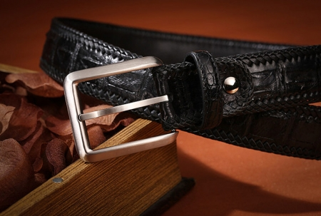 Stylish Genuine Alligator Belt Handmade Alligator Belt for Men-Black-Buckle