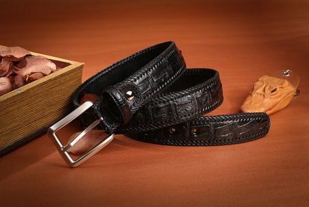 Stylish Genuine Alligator Belt Handmade Alligator Belt for Men-Black-Exhibition