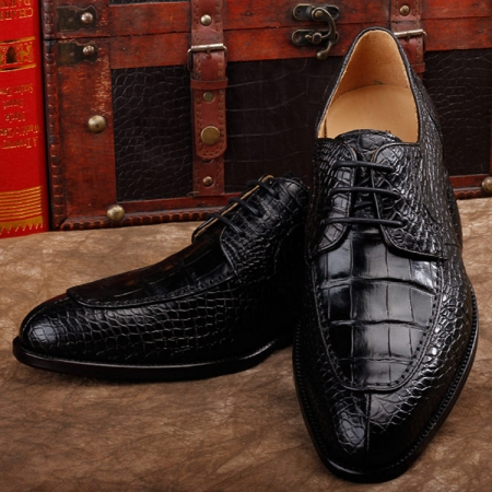 Alligator Skin Round-toe Lace-up Oxford Casual Dress Shoes-Black
