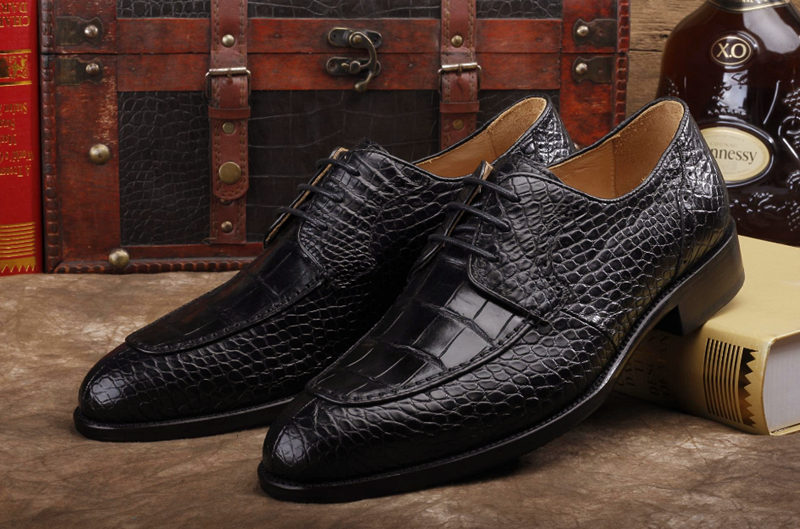 Alligator Skin Round-toe Lace-up Oxford Casual Dress Shoes-Black-Exhibition