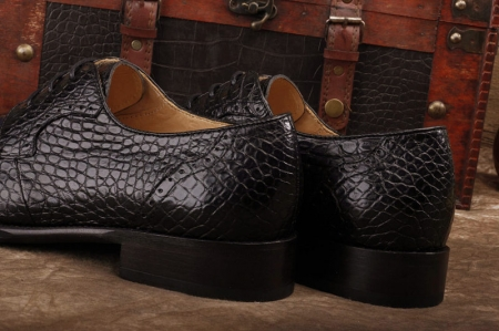 Alligator Skin Round-toe Lace-up Oxford Casual Dress Shoes-Black-Heel