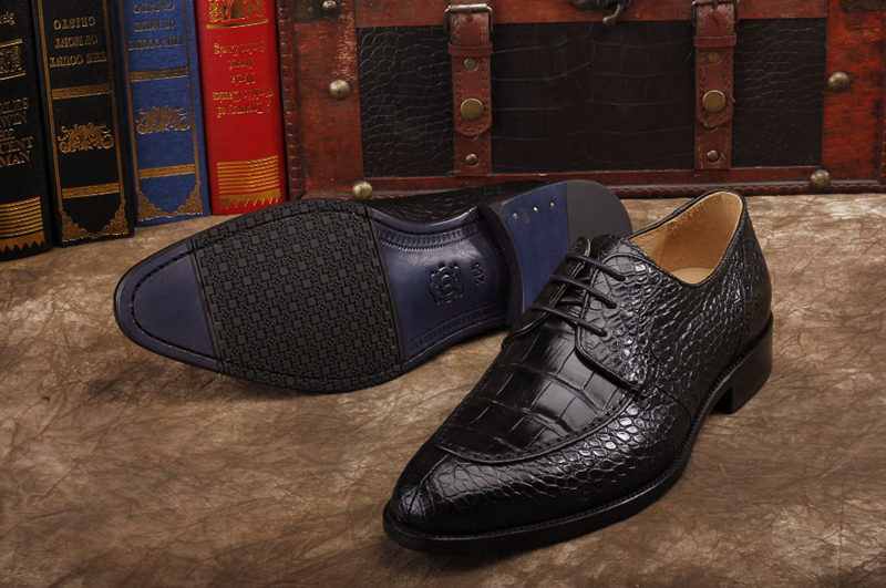 Alligator Skin Round-toe Lace-up Oxford Casual Dress Shoes-Black-Sole