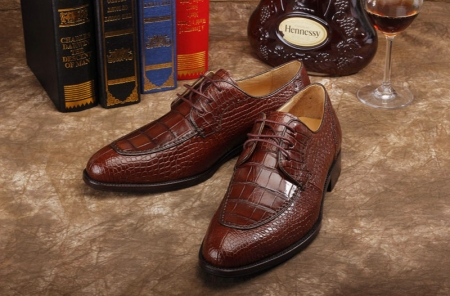 Alligator Skin Round-toe Lace-up Oxford Casual Dress Shoes-Exhibition