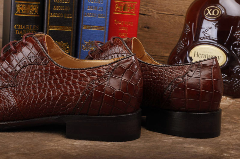 Alligator Skin Round-toe Lace-up Oxford Casual Dress Shoes-Heel