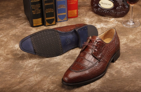 Alligator Skin Round-toe Lace-up Oxford Casual Dress Shoes-Sole
