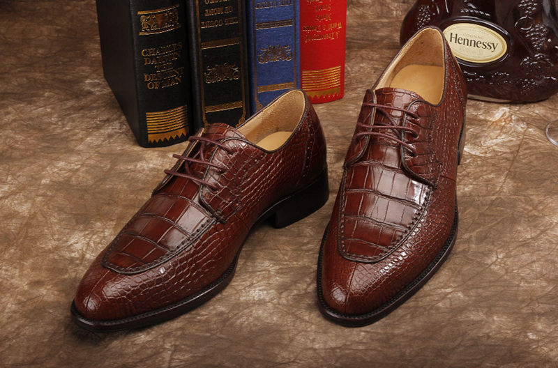 Alligator Skin Round-toe Lace-up Oxford Casual Dress Shoes-Upper