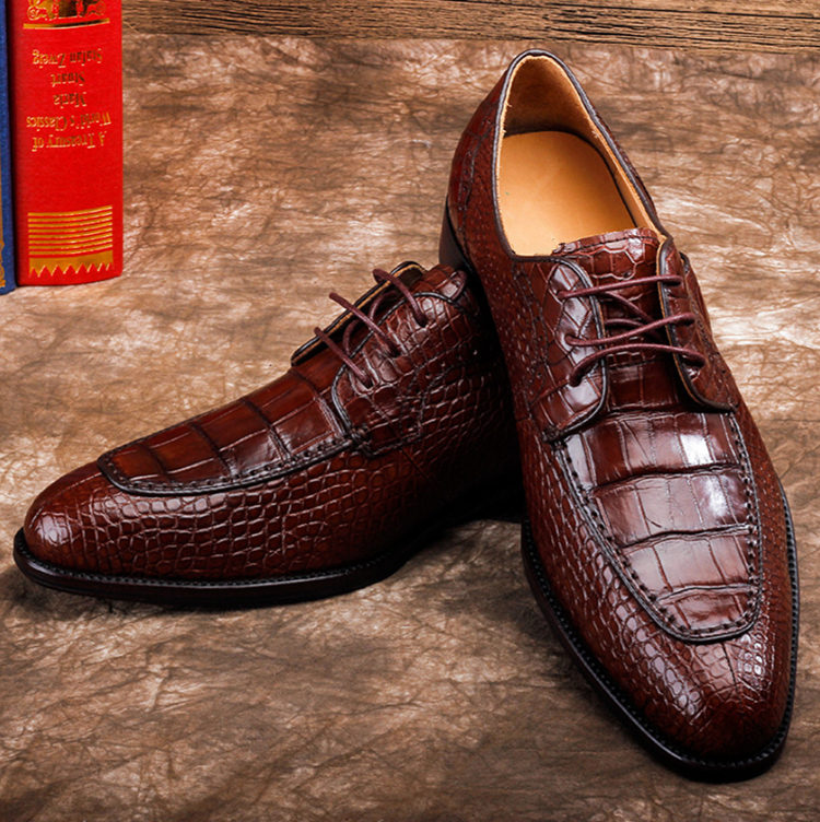 Alligator Skin Round-toe Lace-up Oxford Casual Dress Shoes