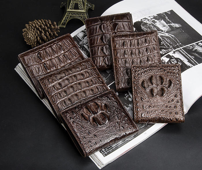 BRUCEGAO's brown handmade crocodile wallet