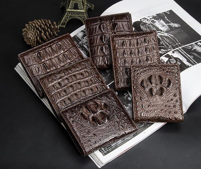 BRUCEGAO's brown handmade crocodile wallet