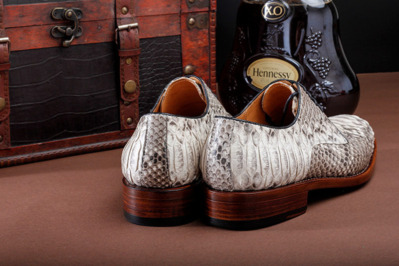Business Snakeskin Shoes, Casual Python Skin Shoes for Men-Heel