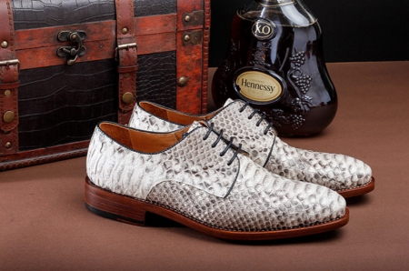 Business Snakeskin Shoes, Casual Python Skin Shoes for Men-Side