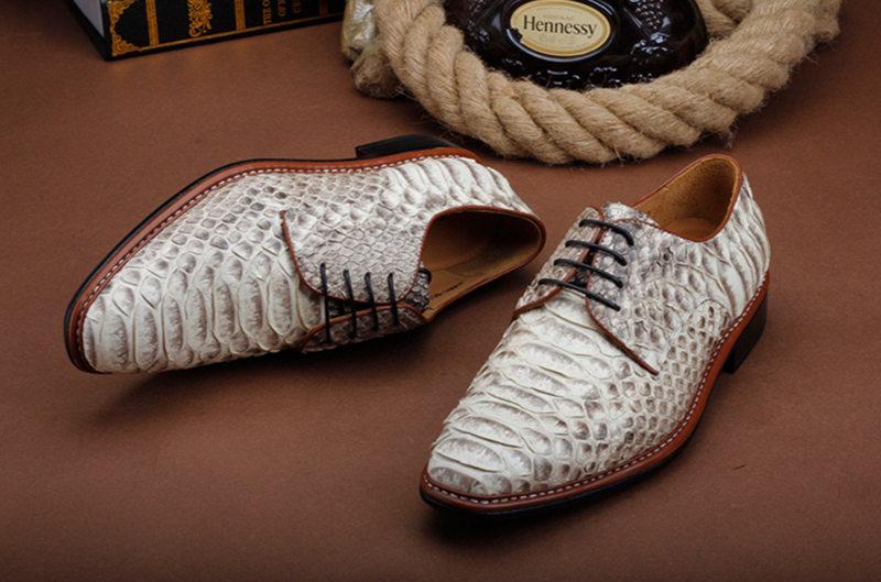 Business Snakeskin Shoes, Casual Python Skin Shoes for Men-Upper