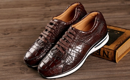 Comfortable Sports Running Alligator Shoes for Men-Brown