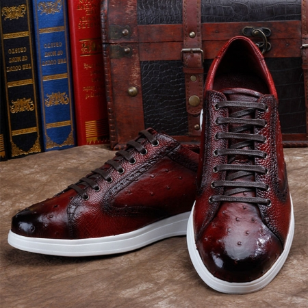Daily Fashion Ostrich Sneakers, Genuine Ostrich Shoes for Men
