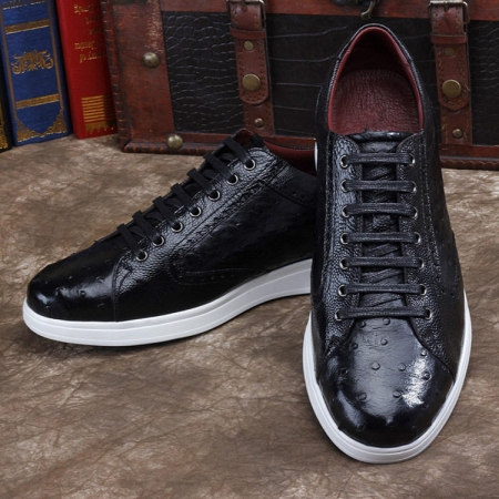 Daily Fashion Ostrich Sneakers, Genuine Ostrich Shoes for Men-Black