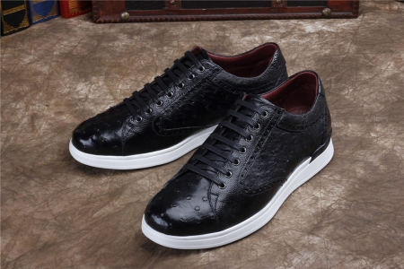 Daily Fashion Ostrich Sneakers, Genuine Ostrich Shoes for Men-Black-Exhibition