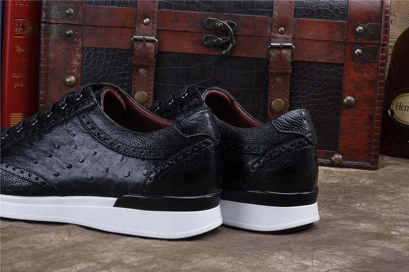 Daily Fashion Ostrich Sneakers, Genuine Ostrich Shoes for Men-Black-Heel