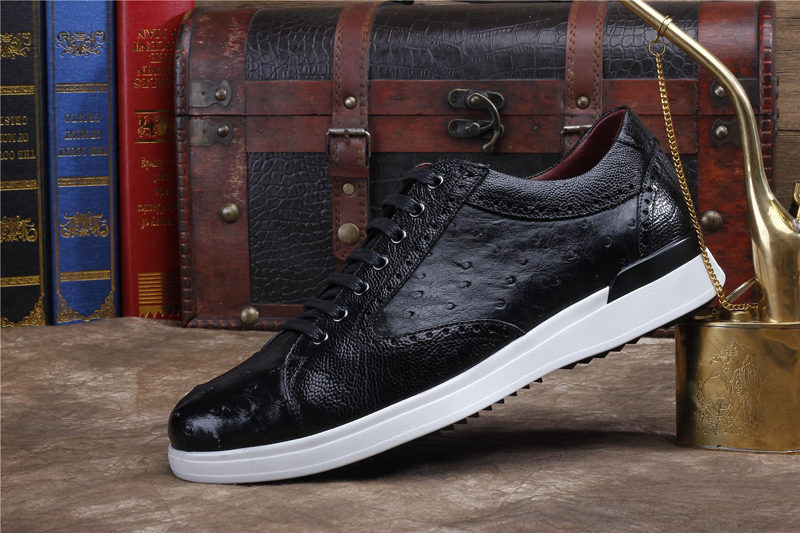 Daily Fashion Ostrich Sneakers, Genuine Ostrich Shoes for Men-Black-Side