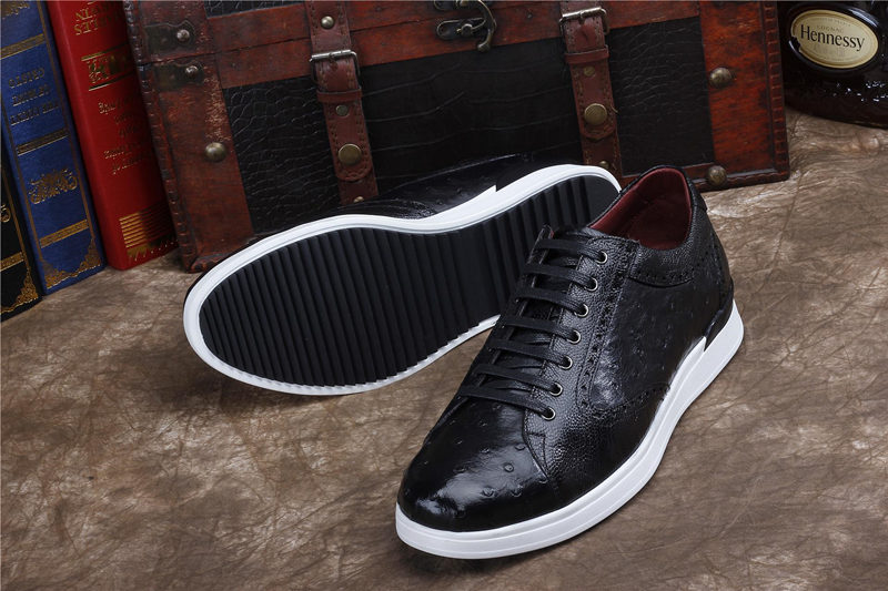 Daily Fashion Ostrich Sneakers, Genuine Ostrich Shoes for Men-Black-Sole
