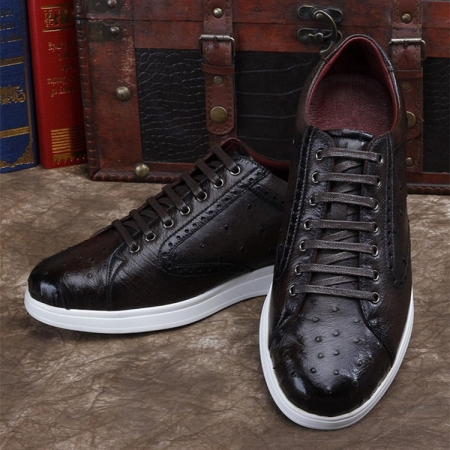 Daily Fashion Ostrich Sneakers, Genuine Ostrich Shoes for Men-Dark Brown