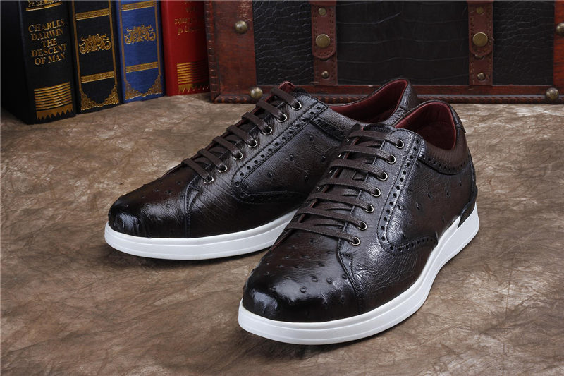 Daily Fashion Ostrich Sneakers, Genuine Ostrich Shoes for Men-Dark Brown-Exhibition