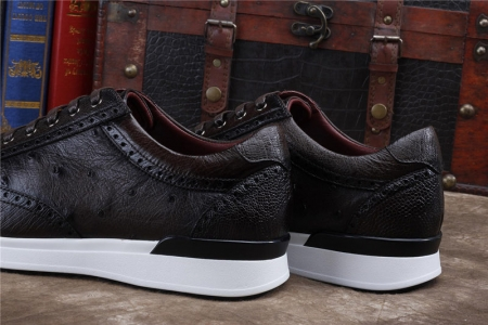 Daily Fashion Ostrich Sneakers, Genuine Ostrich Shoes for Men-Dark Brown-Heel
