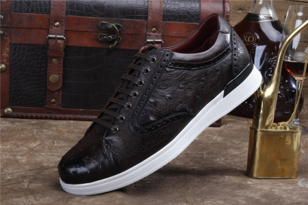 Daily Fashion Ostrich Sneakers, Genuine Ostrich Shoes for Men-Dark Brown-Side