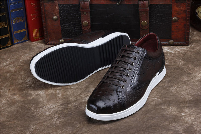 Daily Fashion Ostrich Sneakers, Genuine Ostrich Shoes for Men-Dark Brown-Sole