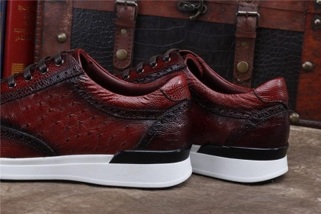 Daily Fashion Ostrich Sneakers, Genuine Ostrich Shoes for Men-Heels