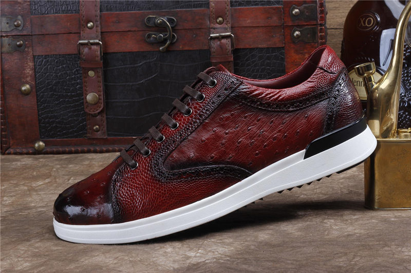 Daily Fashion Ostrich Sneakers, Genuine Ostrich Shoes for Men-Side