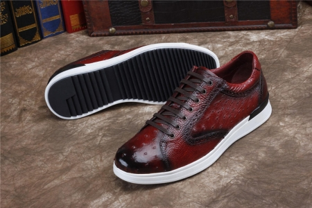 Daily Fashion Ostrich Sneakers, Genuine Ostrich Shoes for Men-Sole
