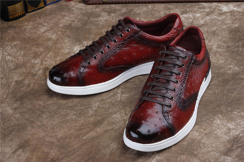 Daily Fashion Ostrich Sneakers, Genuine Ostrich Shoes for Men-Upper