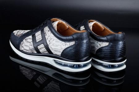 Genuine Snakeskin Air Sports Athletic Running Shoes-Heel