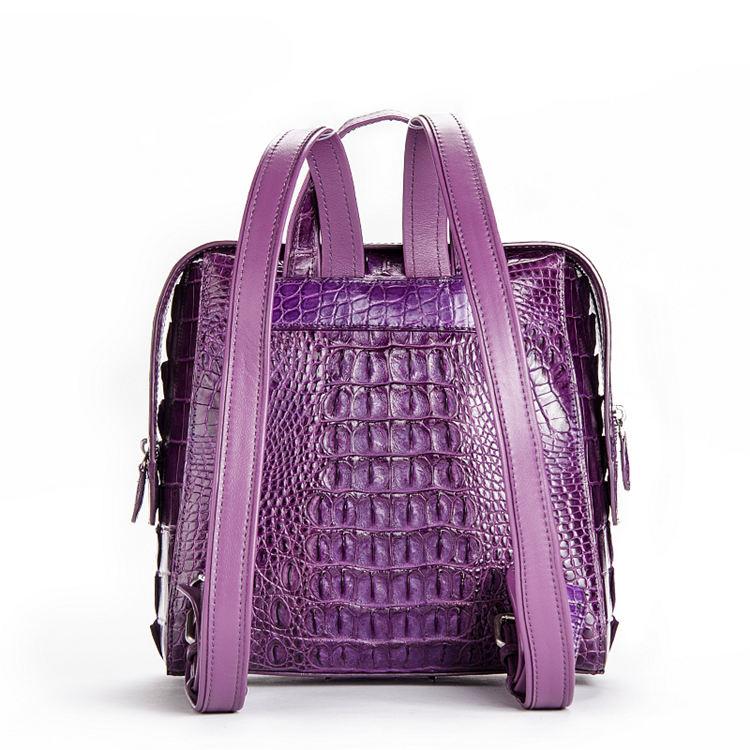 Ladies Genuine Crocodile Skin Backpack, Shoulder Bag-Back