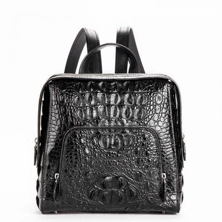 Ladies Genuine Crocodile Skin Backpack, Shoulder Bag-Black