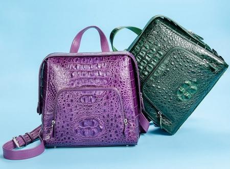Ladies Genuine Crocodile Skin Backpack, Shoulder Bag-Exhibition