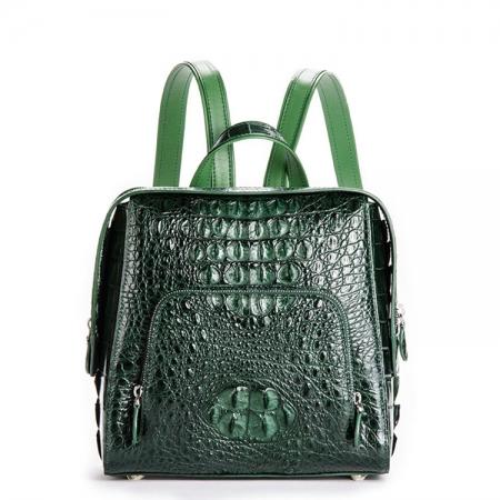 Ladies Genuine Crocodile Skin Backpack, Shoulder Bag-Green