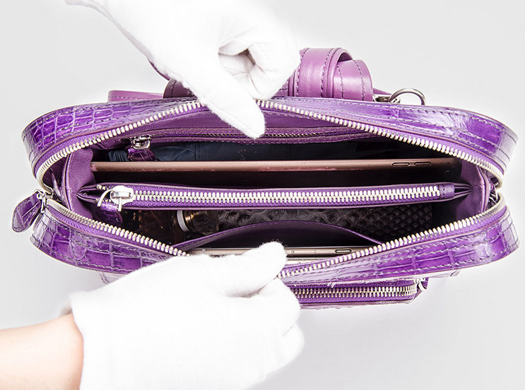 Ladies Genuine Crocodile Skin Backpack, Shoulder Bag-Inside