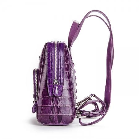 Ladies Genuine Crocodile Skin Backpack, Shoulder Bag-Side