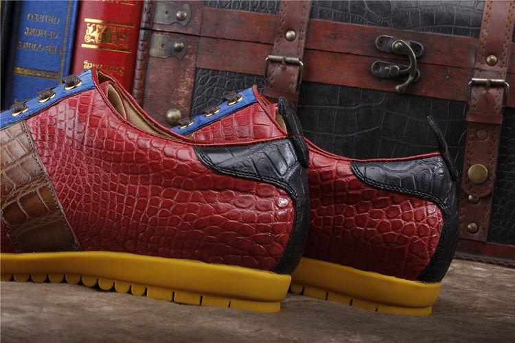 Mens Genuine Alligator Shoes Fashion Alligator Sneakers-Heel