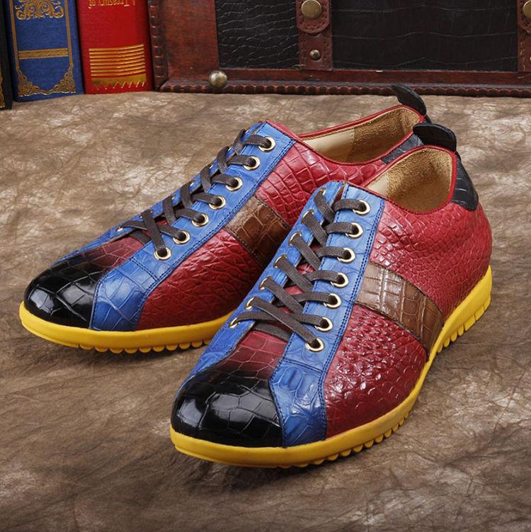 Mens Genuine Alligator Shoes Fashion Alligator Sneakers-Upper