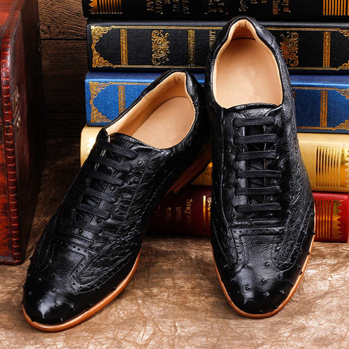 Mens Ostrich Shoes, Casual Exotic Shoes-Black-Upper