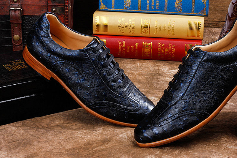 Mens Ostrich Shoes, Casual Exotic Shoes-Dark Blue-Exhibition-1