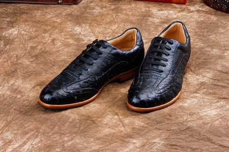 Mens Ostrich Shoes, Casual Exotic Shoes-Dark Blue-Exhibition