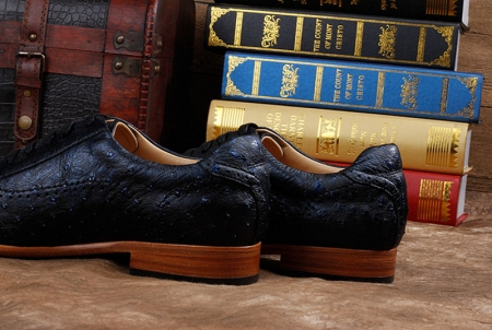 Mens Ostrich Shoes, Casual Exotic Shoes-Dark Blue-Heel