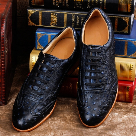 Mens Ostrich Shoes, Casual Exotic Shoes-Dark Blue-Upper