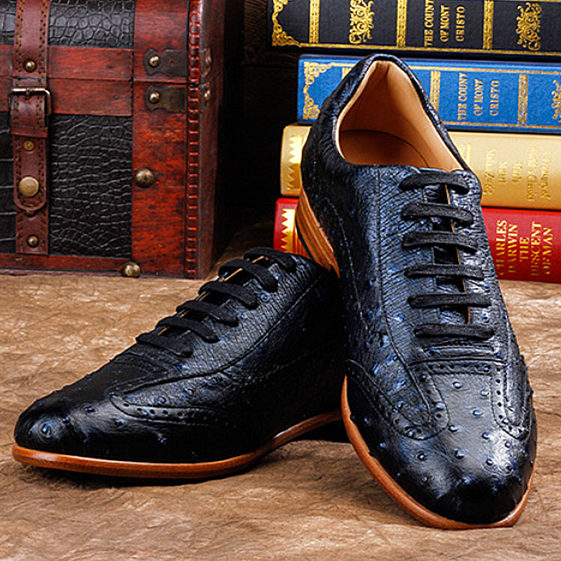 Mens Ostrich Shoes, Casual Exotic Shoes-Dark Blue