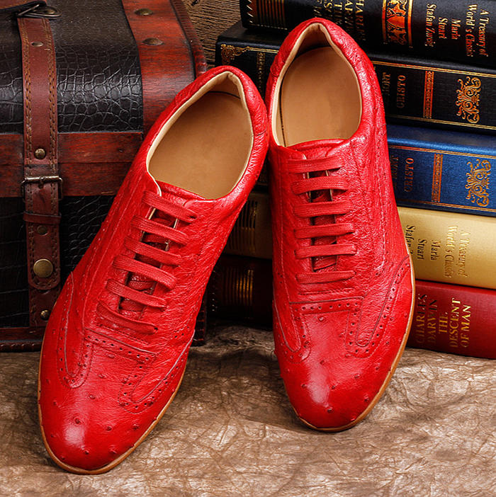 Mens Ostrich Shoes, Casual Exotic Shoes-Upper