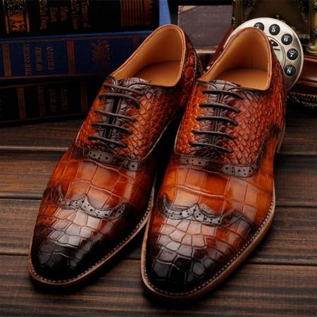 Modern Alligator Skin Lace Up Oxfords Shoes