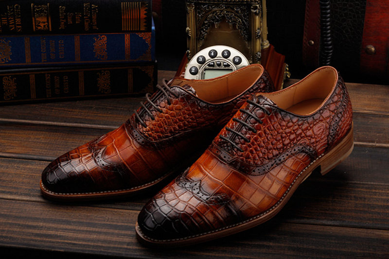 Modern Alligator Skin Lace Up Oxfords Shoes-Exhibition